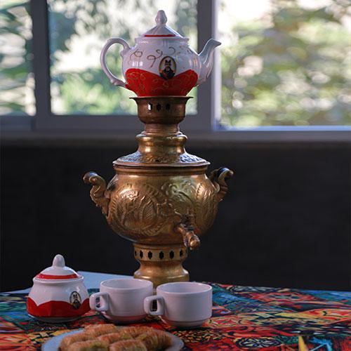 سماور ذغالی با چای دمی