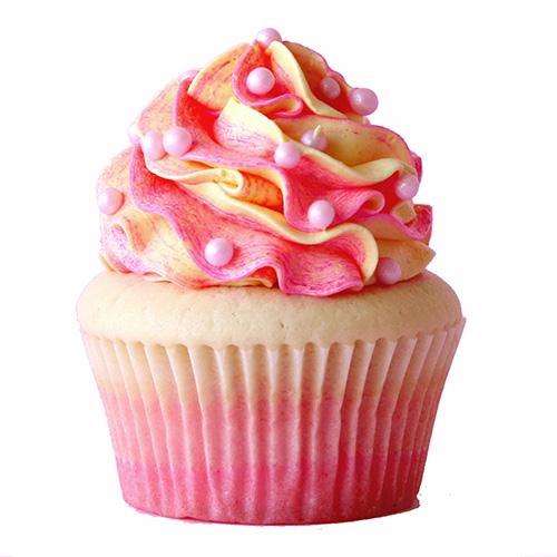 کاپ کیک هل و گلاب با روکش خامه توتفرنگی<