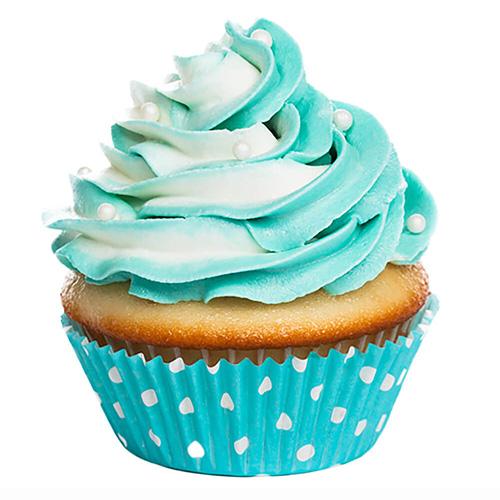 کاپ کیک وانیلی با روکش خامه بلوبری<