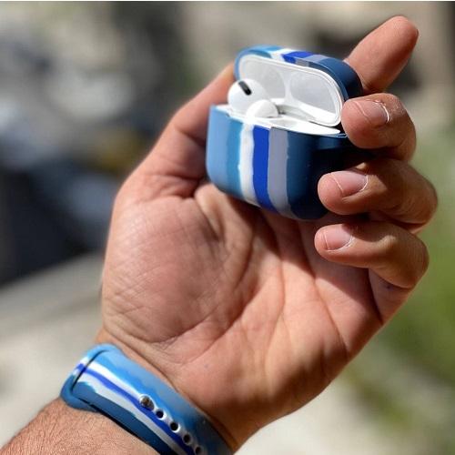کاور ایرپاد سیلیکونی رنگین کمان آبی