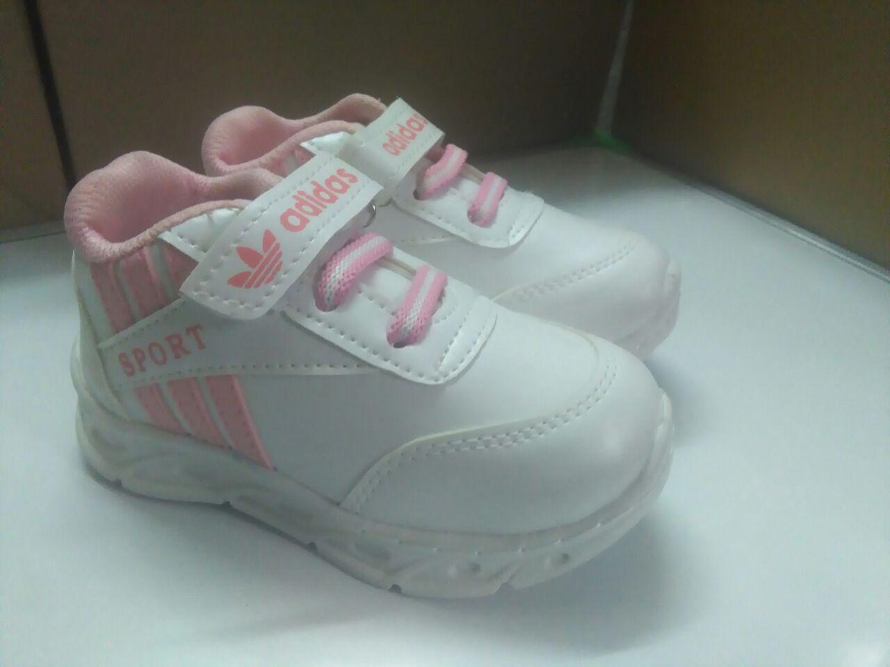 کفش بچه گانه آدیداس سه خط دخترانه (سفید ، صورتی )